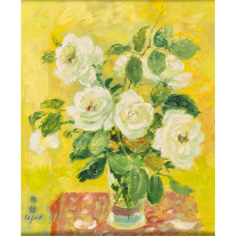 Le Pho, Untitled (White Roses), Oil on canvas