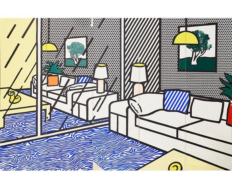 Lot 789, Roy Lichtenstein, Wallpaper with Blue Floor Interior, Screenprint in colors, 1992