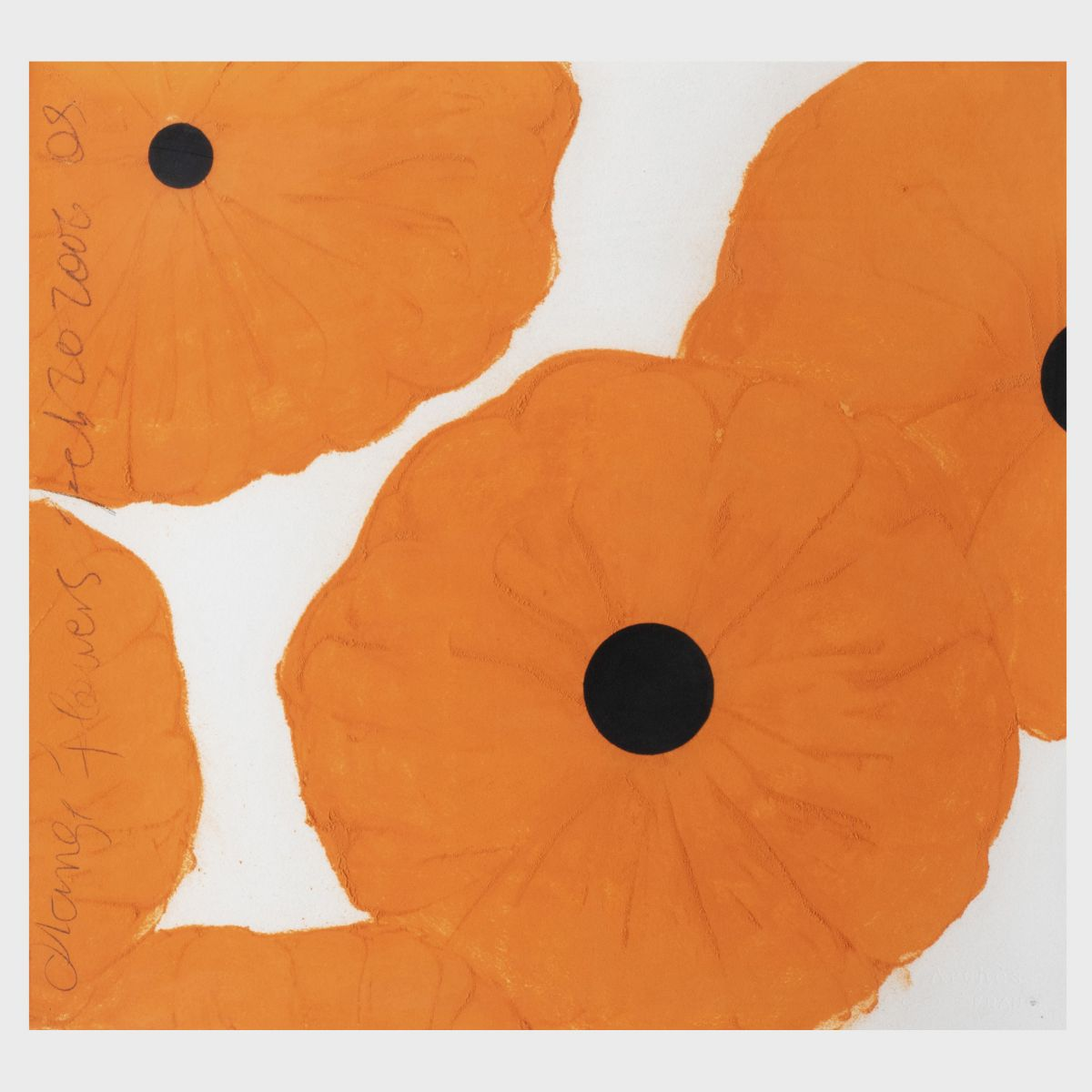Lot 417, Donald Sultan, Orange Flowers, Feb. 20, 2006, Conte crayon and flock on paper, 2006