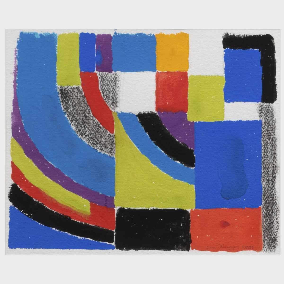 Lot 421, Sonia Delaunay, Composition, Gouache and charcoal on heavy paper, 1967