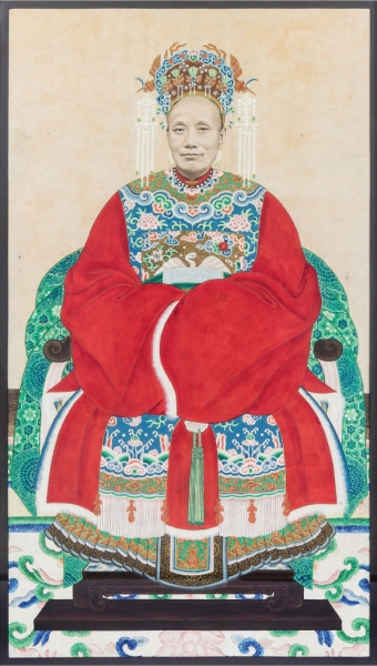 A Chinese Ancestor Portrait, depicting the wife of a civil official. Leslie Hindman Auctioneers