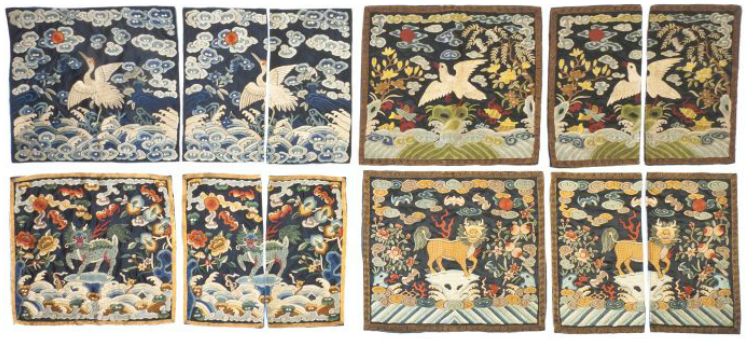 A Group of Four Pairs of Chinese Embroidered Silk Civil Rank Badges. Leslie Hindman Auctioneers