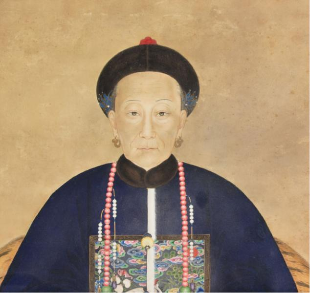 A Chinese Ancestor Portrait of a Civil Officials Wife. Leslie Hindman Auctioneers