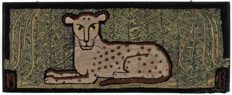 Hooked rug of a recumbent leopard (Estate of Kristina Barbara Johnson, Princeton, NJ)