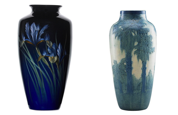 Rookwood Black Iris vase Lot 247 Newcomb Colleges Fine vase with windwill Palms