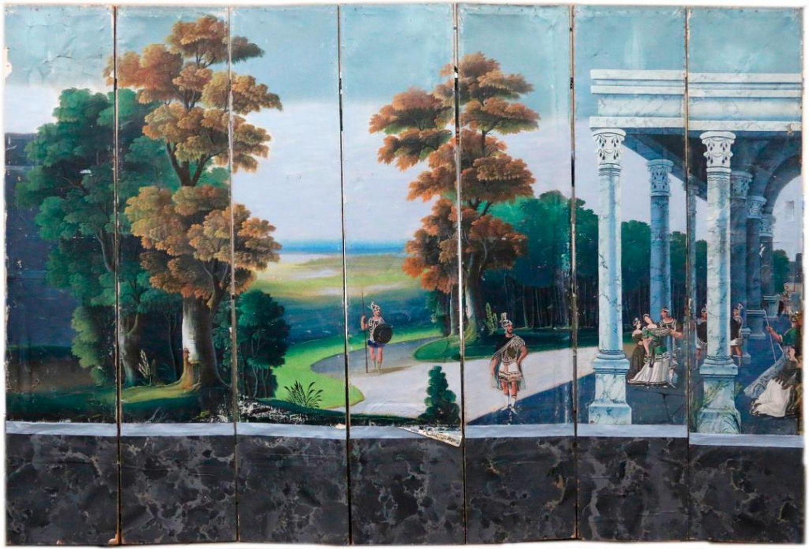 Lot 73: A late 18th/early19th century continental paper seven panel landscape screen. Estimate $1,500-$2,500