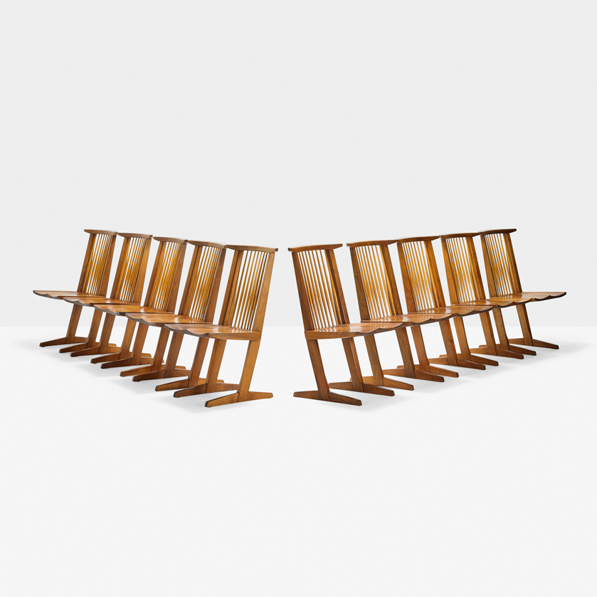 George Nakashima, Set of ten Conoid chairs; Sold for $50,000