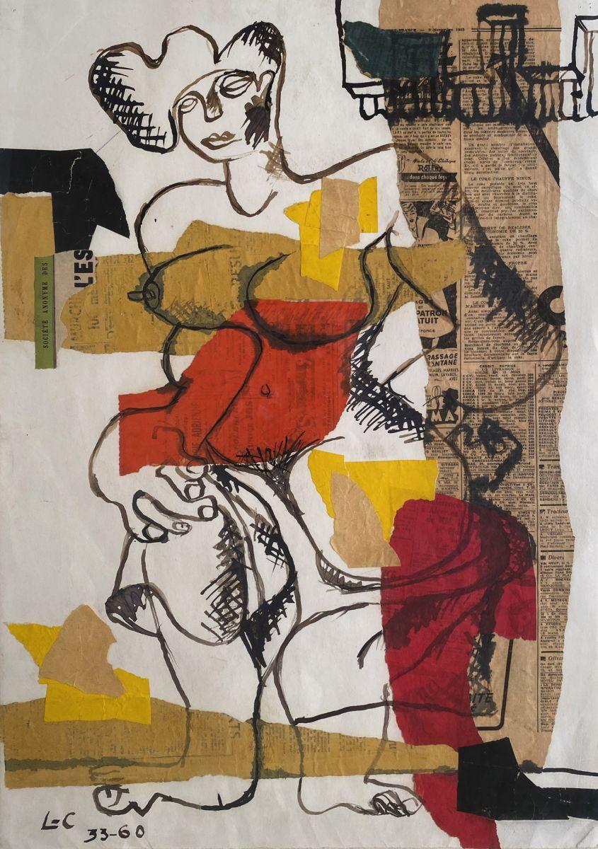 Lot 120, Le Corbusier, Femme nue Debout, Mixed media - newsprint ink, paper collage; Estimate $40,000-$60,000