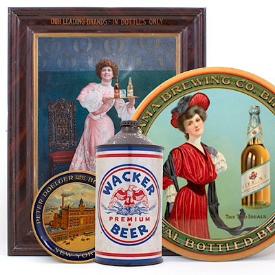 Antique Advertising Trays, Tip Trays, Signs, Cans, Lithographs, Soda, Tobacco & Brewery by Morean Auctions