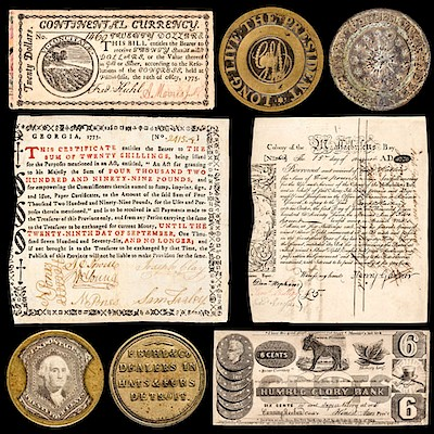 Colonial & Continental Currency-Coinage-Historic Peace Medals- Encased Postage Stamps by Early American History Auctions