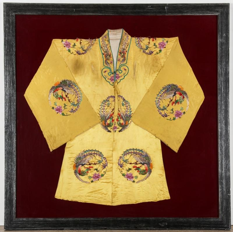 Antique Chinese Silk Embroidered Robe in Frame | Bidsquare