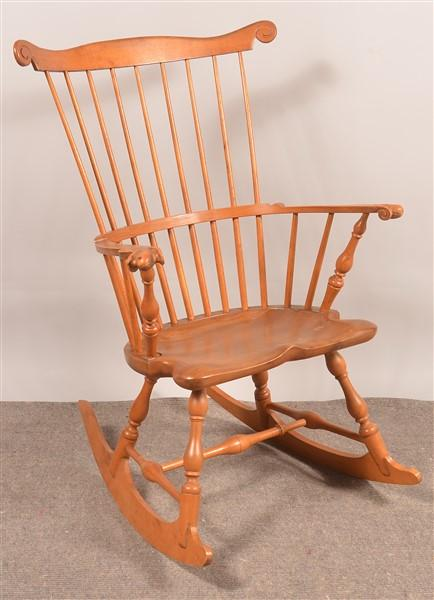 windsor style comb back rocking chair by hess auction group bidsquare