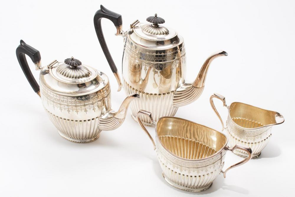 Sheffield Queen Anne Silver-Plate Coffee Service by Showplace Antique + Design Center | Bidsquare & Sheffield Queen Anne Silver-Plate Coffee Service by Showplace ...
