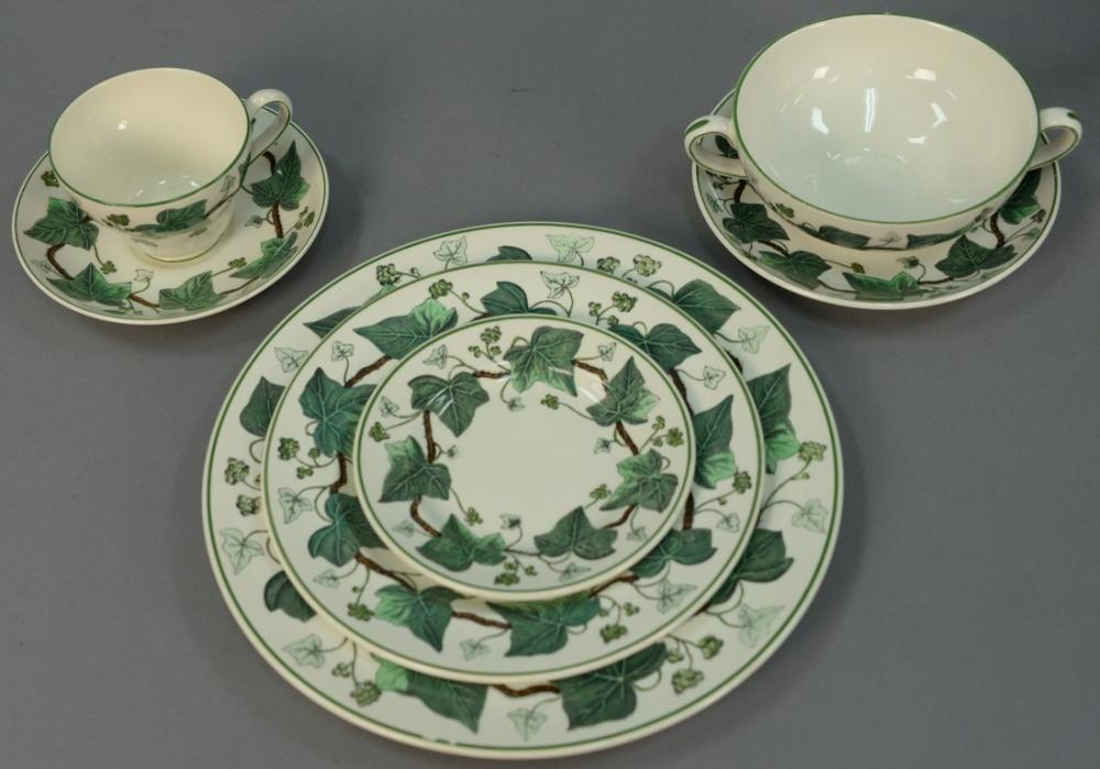Wedgwood Napoleon Ivy dinnerware set service for seven sixty-six total pieces by Nadeauu0026#39;s Auction Gallery | Bidsquare & Wedgwood Napoleon Ivy dinnerware set service for seven sixty-six ...
