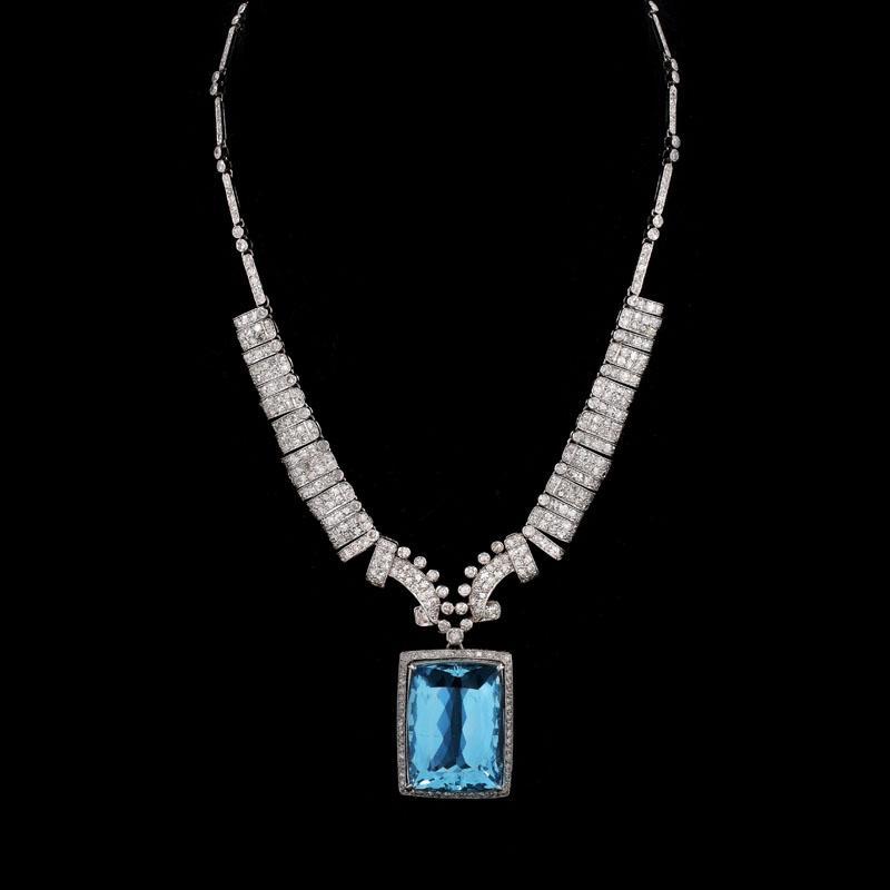 Art deco large aquamarine diamond and platinum pendant necklace item image aloadofball Images