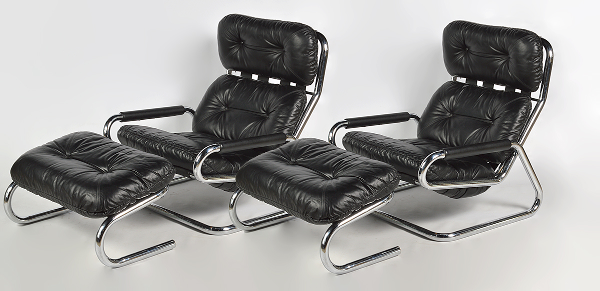 Pr. Directional Furniture Black Leather Chairs By Abington Auction Gallery,  Inc. | Bidsquare