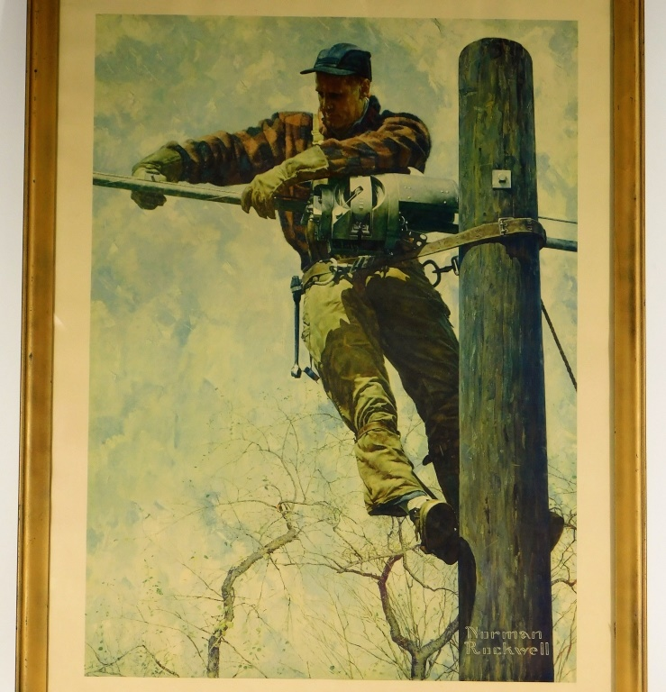 Norman Rockwell AT&T Telephone Lineman Frame Print by Bruneau & Co ...