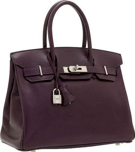 f3d7af6614dd Hermes 30cm Raisin Veau Graine Lisse Leather Birkin Bag with ...