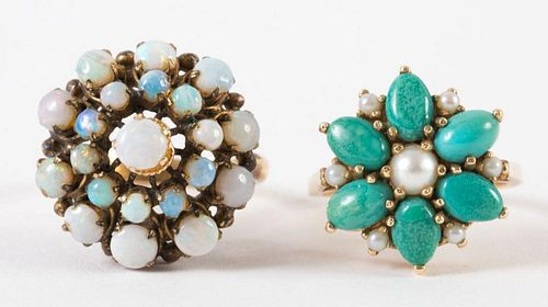 A Pair of Gold Gemstone Cluster Rings