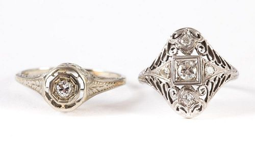 Two Ladies' Art Deco Filigree Diamond Rings