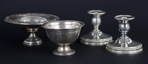 Assorted American weighted sterling table items
