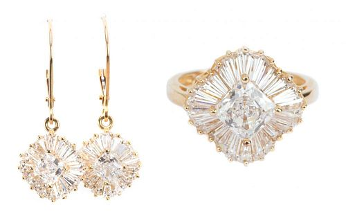 A CZ Ring and Ear Pendants in 14K Gold