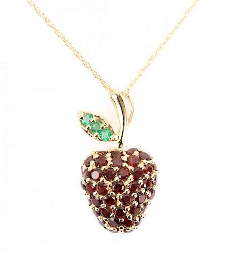 """A Garnet and Emerald """"Apple"""" Pendant in 14K Gold"""