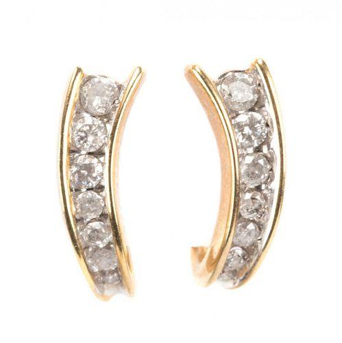 """A Pair of Diamond """"J"""" Hoop Earrings"""