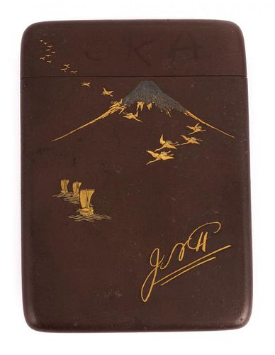 A Japanese Gold and Silver Inlaid Case