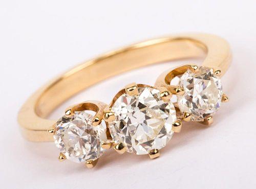 A Three Stone Old European Cut Diamond Ring