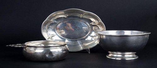 American sterling porringer, bowl & oblong dish