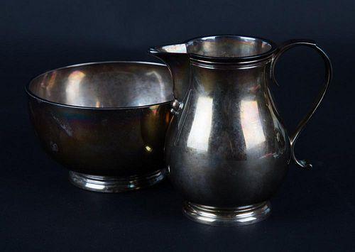 English silver cream pitcher & sugar bowl