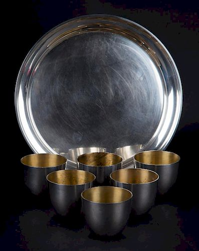 """Stieff sterling silver """"Jefferson Cups"""" and tray"""