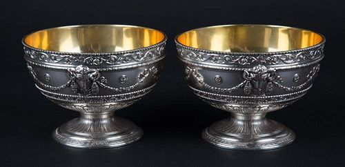 Pair Neoclassical style silver-plated caviar bowls