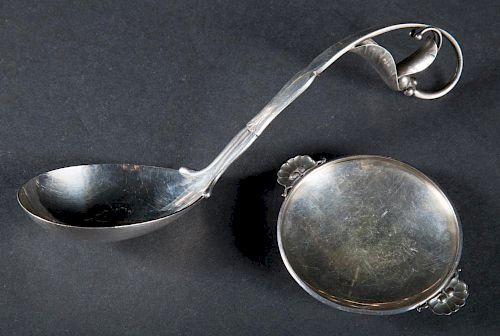 Georg Jensen sterling ladle and salt cellar
