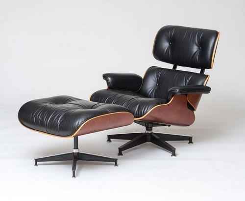 CHARLES AND RAY EAMES FOR HERMAN MILLER, LOUNGE CHAIR AND OTTOMAN, 1996