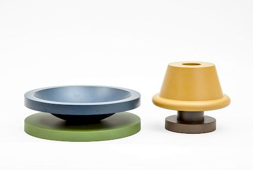 ETTORE SOTTSASS FOR MARU TOMI, JAPAN, 1997, BOWL AND LOW VASE