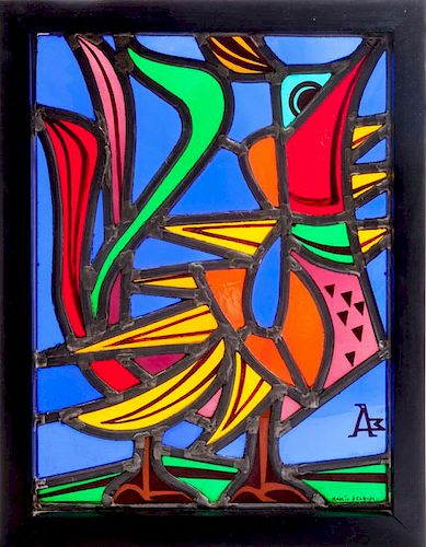 MICHIEL ANNEESSENS, LEADED STAINED GLASS PANEL