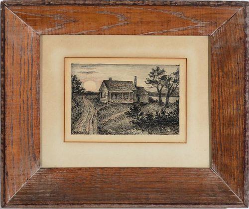 DAVID BURLIUK (1882-1967): HOUSE IN THE MOONLIGHT