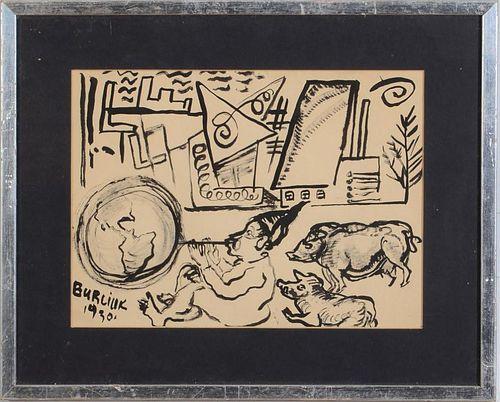 DAVID BURLIUK (1882-1967): CARRYING WATER; AND BLOWING BUBBLES