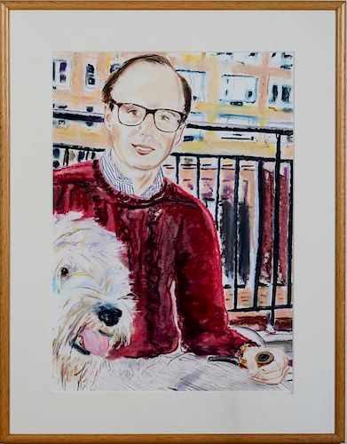 BILLY SULLIVAN (b. 1946): PORTRAIT OF A MAN WITH HIS DOG