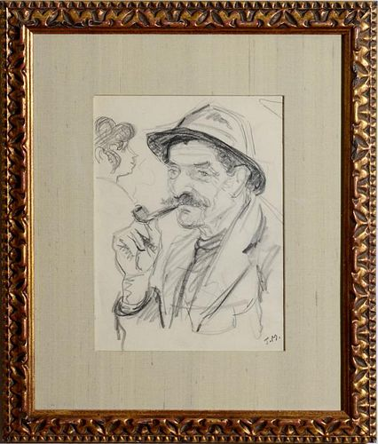 AMERICAN SCHOOL: MAN WITH A PIPE