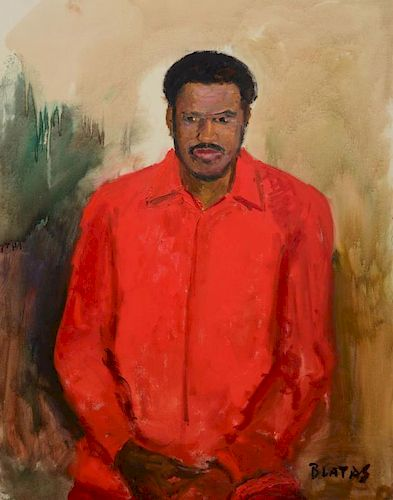 ARBIT BLATAS (1908-1999): PORTRAIT OF A MAN IN A RED SHIRT