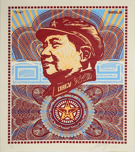SHEPARD FAIREY (b. 1970): THE BELOVED PREMIERE, WE ARE BLINDED BY YOUR MAJESTY