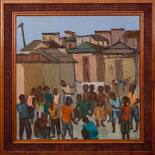 CARLO JEAN-JACQUES (1943-1990): VILLAGE WITH PEOPLE