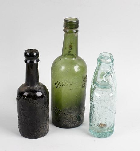 A box containing a collection of assorted glass bottles Staffordshire interest, to include Staffords
