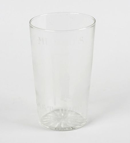World War II interest: A glass beaker, etched with view of Italian Fascist leader Benito Mussolini a