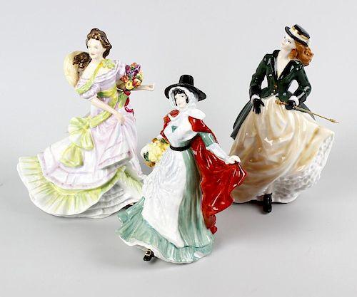 Six Royal Doulton figurines , HN3439 The Skater A/F, HN3477 Springtime A/F, HN3478 Summertime, HN362