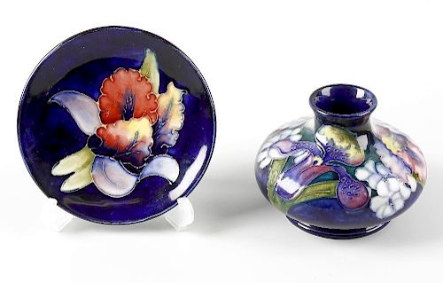 Two items of Moorcroft Orchid pattern pottery  Comprising: a vase
