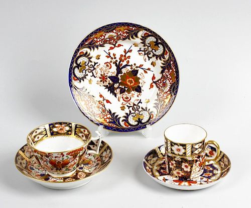 A selection of porcelain. Comprising an early 19th century Derby cup and saucer, a Derby plate of si